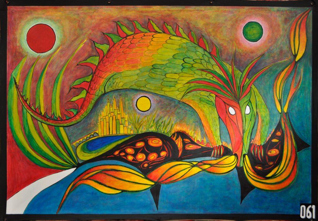"""Toile représentant un animal """"dragonesque"""" symbolisant les menaces qui pèsent sur notre monde si nous ne changeons pas profondément nos modes de vie actuels."""